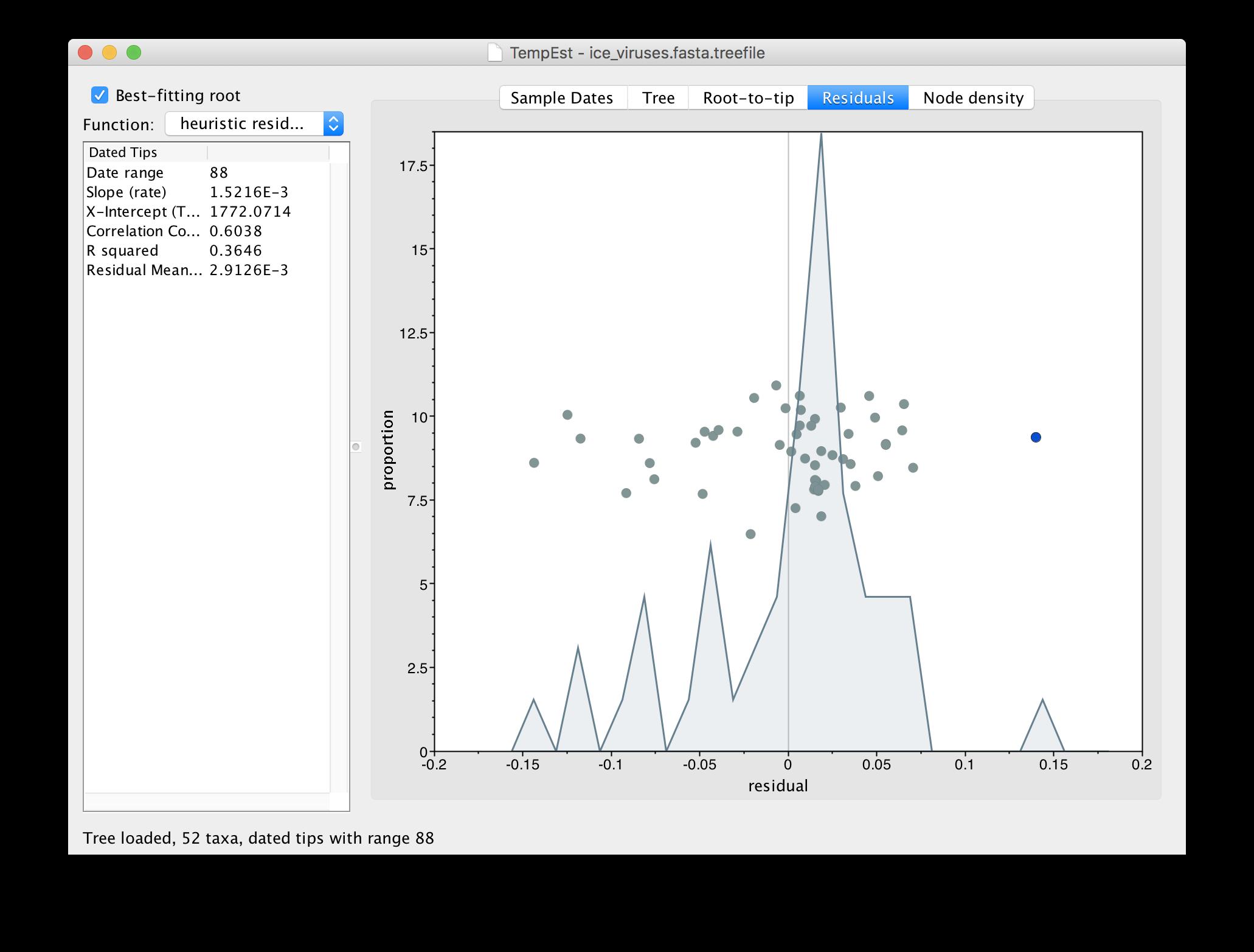 Using TempEst for data exploration | BEAST Documentation